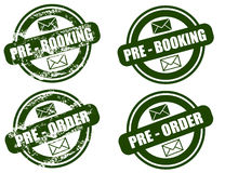 Pre Booking / Order grunge stamp set. Set of four grunge stamp, in stamp colors  ,isolated on white .png file also available Royalty Free Stock Image