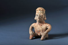 Pre-Columbian Art. Colima 100 BC seated man Royalty Free Stock Images