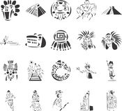 Pre-Columbian Civilizations. 20 themed EPS images related to Incas and Mayas. The number of vector nodes is absolute minimum. The images are very easy to use and Royalty Free Stock Image
