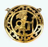 Pre Columbian Medallion. Gold Pre Columbian warrior medallion Royalty Free Stock Photo