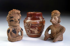 Pre Columbian Pottery And Clay Warriors. Royalty Free Stock Photos