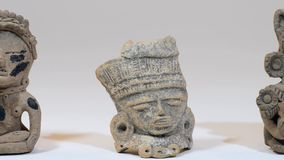 Pre Columbian Warriors. Pre Columbian warriors figurines made around 600AD stock footage
