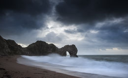 Pre-dawn Durdle Door on Jurassic Coast in England Stock Image