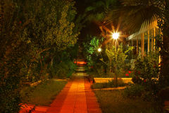 Pre dawn gardens with pathway. Colorful pre dawn gardens with pathway Royalty Free Stock Photography