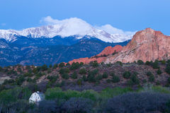 Pre Dawn image of Pikes Peak Mountain and Garden of the Gods in Stock Photos