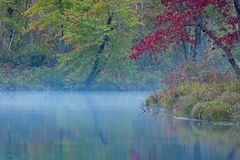 Pre-Dawn Light On The River Painted With Fall Colors. Vibrant fall colors reflect in the waters of the Mississauga River in Kawartha Highlands Provincial Park royalty free stock image