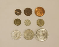 Pre-decimal GBP coins Royalty Free Stock Photo