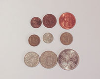 Pre-decimal GBP coins Stock Images