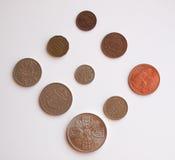 Pre-decimal GBP coins. Full series - circulating in the UK until 1971 stock photos