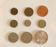 Pre-decimal GBP mynt Fotografering för Bildbyråer