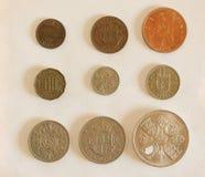 Pre-decimal GBP mynt Royaltyfria Foton