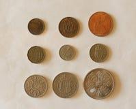 Pre-decimal GBP mynt Royaltyfri Foto