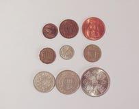 Pre-decimal GBP mynt Arkivbilder