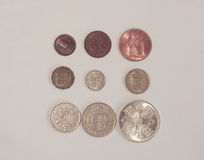 Pre-decimal GBP mynt Royaltyfria Bilder