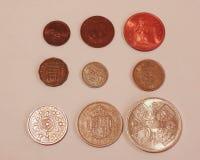 Pre-decimal GBP mynt Royaltyfri Bild
