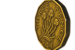 Pre Decimalisation English Three Pence Coin, Isolated Royalty Free Stock Images