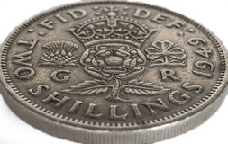 Pre Decimalisation English Two Shilling Coin Royalty Free Stock Photos