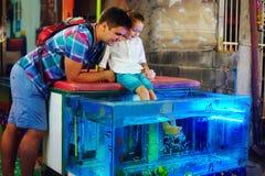 Père et fils heureux au traitement de pédicurie de poissons au marché en plein air Image libre de droits