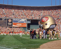 Pre-Game Candlestick Park, San Francisco, CA. 49er fans get pumped as pre-game festivities take place prior to the start of a game Stock Image