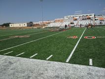 Pre game football field. A football field before the start of the game Royalty Free Stock Photo