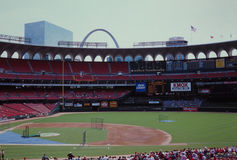 Pre-Game Old Busch Stadium, St. Louis, MO. Batting practice at Old Busch Stadium, St. Louis, MO.  (Image taken from color slide Stock Image