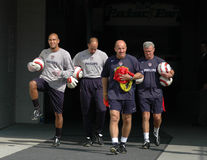 Pre-Game Warm ups, Gillette Stadium, Sept 4, 2004. Goal keeper Tim Howard and coaches come out of the tunnel at Gillette Stadium in preparation for their match Royalty Free Stock Image