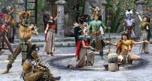 Pre-Hispanic Mayan amerindian people performance into the jungle in the ancient Mayan Village. Riviera Maya, Yucatan, Mexico stock photography