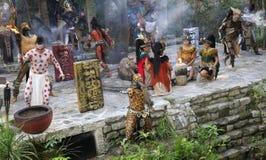 Pre-Hispanic Mayan amerindian people performance into the jungle in the ancient Mayan Villag. E, Riviera Maya, Mexico royalty free stock image