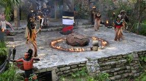 Pre-Hispanic Mayan amerindian people performance into the jungle in the ancient Mayan Village. Riviera Maya, Yucatan, Mexico stock image
