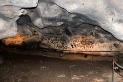 Pre-Historic writings in cave Magura, Bulgaria Royalty Free Stock Photos