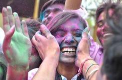Pre Holi beröm i Bhopal Arkivfoton