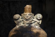 Pre inca ceramic called `Huacos` from Chancay Peruvian culture. royalty free stock photography