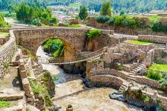 Pre-Inca Leather Suspension Bridge. At Checacupe in Cusco, peru Royalty Free Stock Photo