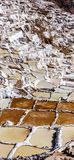 Peru, Maras salinas, salt Evaporation ponds royalty free stock photo