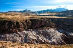 Pre Inca traditional salt mine Maras, Peru Stock Image