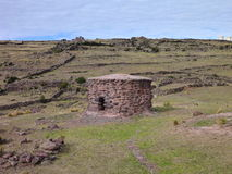 Pre-incan burrial site sillustani with chulpas Stock Image