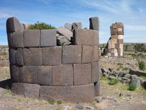Pre-incan burrial site sillustani with chulpas Royalty Free Stock Image