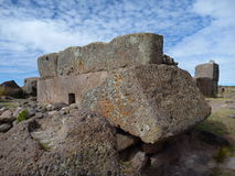 Pre-incan burrial site sillustani with chulpas Royalty Free Stock Photography