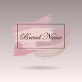 Pre-made Logo design, banner and watermark. Artistic brushes des. Ign in pink pastel colors Royalty Free Stock Photos