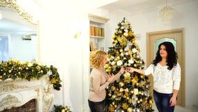 Pre-nieuwe Jaar` s opschudding en voorbereidingen voor de wintervakantie van twee schoonheden, die in heldere woonkamer met feest stock video