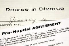 Pre-Nuptial avec le divorce Images libres de droits