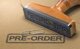 Pre order Item, Rubber stamp stock image