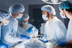 Pre oxygenation for general anesthesia. Surgery equipment stock photo