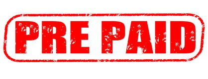 Pre paid red stamp. Isolated on white background Stock Image