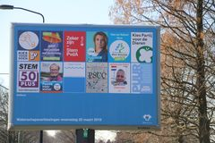 Pre printed election poster billboard for the water authority Delfland in Voorburg in the Netherlands on march 20th, 2019. Pre printed election poster billboard royalty free stock photos