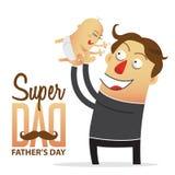 Père retenant son fils le chef heureux de crabots mignons effrontés de personnage de dessin animé de fond a isolé le blanc de sou Photographie stock libre de droits