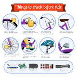 Pre-ride checklist for bicycle. Bicycle safety inspection checklist every time before ride. Vector infographics illustration on white background Stock Images
