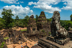 Pre rup. General sight and statue of vigilant lion of the archaeological place of pre rup in siam reap, cambodia Royalty Free Stock Photos