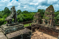 Pre rup. General sight and statue of vigilant lion of the archaeological place of pre rup in siam reap, cambodia Royalty Free Stock Images