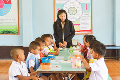Pre-school age,Student at luch time  in Thailand Royalty Free Stock Photos